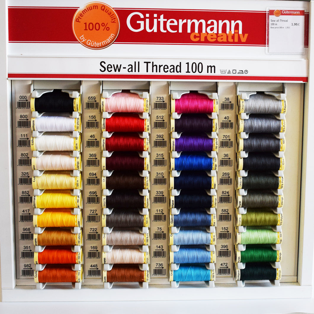 Gutermann Sew All Thread 100% Polyester 100m Various 40 Colours Hand Sewing Machine Sewing Quilting Dovetailed
