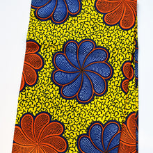 'GARDENIA' African Wax Block Print Fabric Red Orange Blue Yellow Sold by the yard 100% cotton by Dovetailed