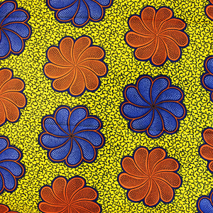 'GARDENIA' African Dutch Wax Block Print Fabric Red Orange Blue Yellow Sold by the yard 100% cotton by Dovetailed