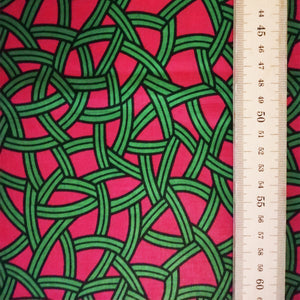 GREEN LEAVES ON PINK African Print Wax Block Fabric Sold by the yard 100% cotton pink green Ankara Patterned by Dovetailed
