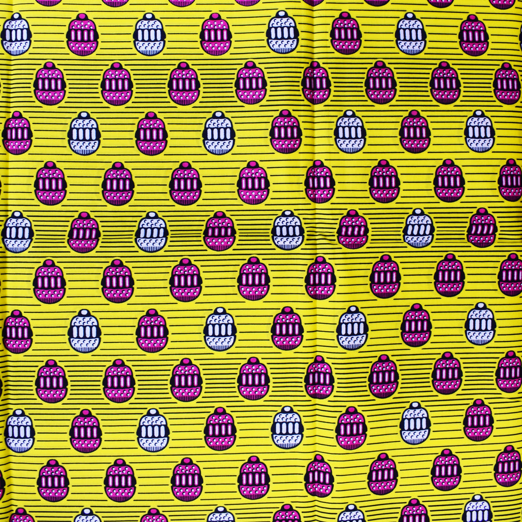 'HAVE YOUR CAKE AND EAT IT' (on yellow) African Wax Block Print Fabric Sold by the yard 100% cotton by Dovetailed