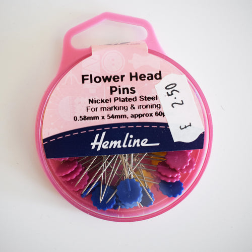 Hemline Flat Flower Head Pins Quilting Approx. 60 Pieces 0.58 mm x 54 mm Dressmaking Sewing Bag making Patchwork