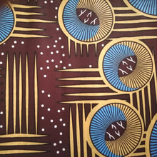 African Print Wax Block Fabric Sold by the yard 100% cotton Blue brown and cream Ankara by Dovetailed