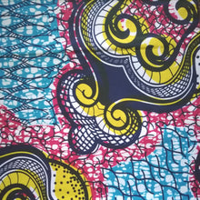 African Print Wax Block Fabric Sold by the yard 100% cotton Blue, pink and yellow Ankara by Dovetailed