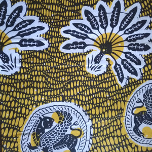 WILD PLAINS African Print Wax Block Fabric Sold by the yard 100% cotton Blue, white and yellow Ankara by Dovetailed