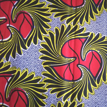 African Print Wax Block Fabric Sold by the yard 100% cotton Blue, white, red and yellow Ankara by Dovetailed