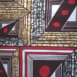 African Print Wax Block Fabric Sold by the yard 100% cotton Brown, red and white Ankara by Dovetailed