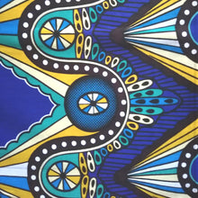 African Print Wax Block Fabric Sold by the yard 100% cotton Blue, brown, green and yellow Ankara by Dovetailed