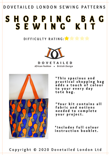 *Shopping Bag Sewing Kit* African Wax Print Fully Lined Magnetic Bag Clasp Closure Crafts Stitching Gifts for Her