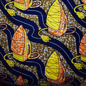 African Print Wax Block Fabric Sold by yard 100% cotton Blue Orange Yellow Brown Ankara by Dovetailed