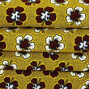 'JIVING in the AISLES' African Dutch Wax Block Print Fabric Brown White Yellow Sold by the yard 100% cotton by Dovetailed