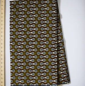 Julius Holland Wax Block Print African Brown White Sold by the yard Cotton Dovetailed