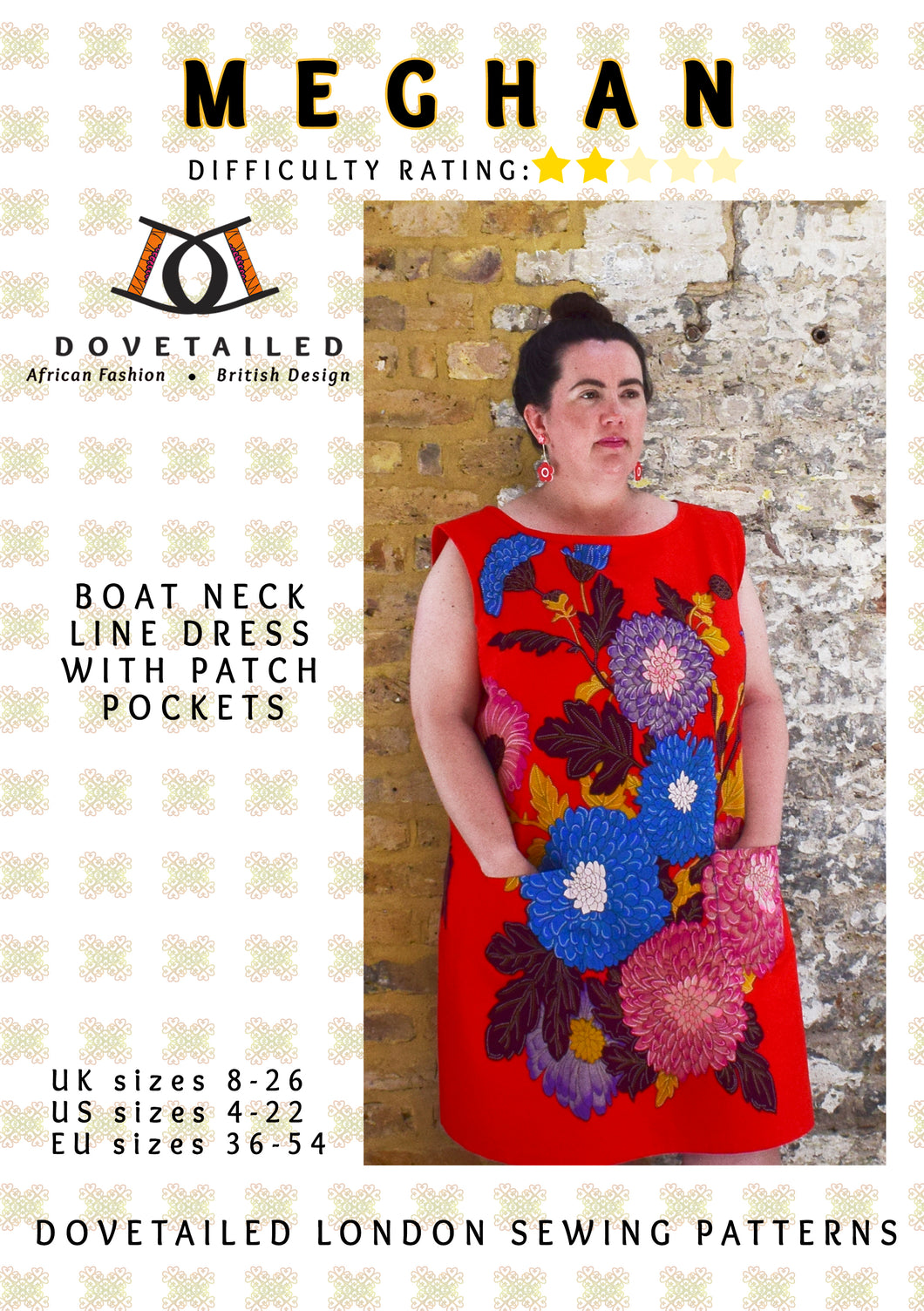 MEGHAN DRESS Sizes 8 - 26 : Boat neck line dress with patch pockets - PAPER SEWING PATTERN by Dovetailed