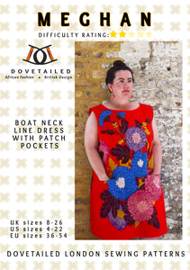 MEGHAN DRESS - Sizes 8 - 26 : Boat neck line tunic with patch pockets (DIGITAL SEWING PATTERN) by Dovetailed