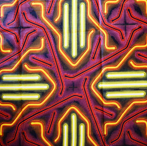 NEON African Wax Block Print Ankara Fabric Sold by the yard 100% cotton Yellow Pink Orange by Dovetailed