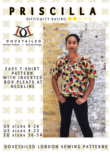 PRISCILLA TEE Sizes 8 - 26 - dipped curved hem - neckline pleats - DIGITAL SEWING PATTERN - Dovetailed London