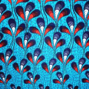 PEACOCK FEATHERS African Print Wax Block Fabric Sold by the yard 100% cotton Blue and white Ankara by Dovetailed