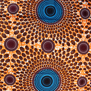 "NSUBRA (""RIPPLE EFFECT"") African Print Wax Block Fabric Sold by the yard 100% cotton Blue brown orange circles Patterned by Dovetailed"