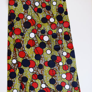 POPS OF COLOUR African Print Wax Block Fabric Sold by the yard 100% cotton Red white brown yellow blue Ankara by Dovetailed