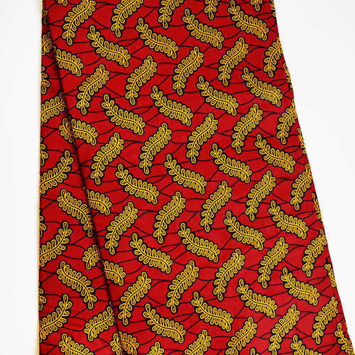 ROBINA LEAVES ON RED African Print Wax Block Fabric Sold by the yard 100% cotton Ankara Patterned by Dovetailed