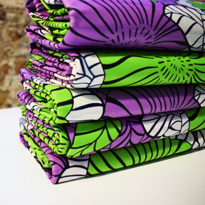 PURPLE GARDEN African Wax Block Print Fabric Sold by yard 100% cotton Purple Green White Ankara by Dovetailed