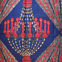 CANDLES AND FIREWORKS African Print Wax Block Fabric Sold by the yard 100% cotton Blue Red Gold Ankara Dovetailed