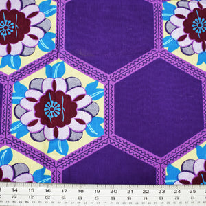 HEXES ON PURPLE African Print Wax Block Fabric Sold by the yard 100% cotton Ankara by Dovetailed