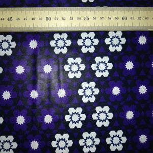 SNOWDROPS ON PURPLE African Print Wax Block Fabric Sold by the yard 100% cotton Ankara Patterned by Dovetailed