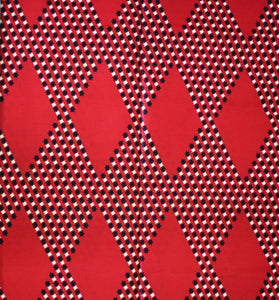 African Print Wax Block Fabric Sold by the yard 100% cotton Red black cream Ankara by Dovetailed