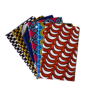 six African print fabric fat quarters in different colours