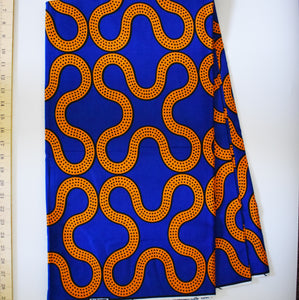Julius Holland Wax Block Print African Orange Blue Black spots Sold by the yard Cotton Dovetailed