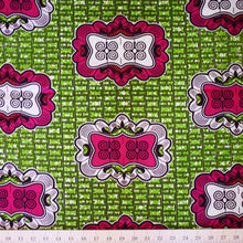 Julius Holland Wax Block Print African Green Pink White Sold by the yard Cotton Dovetailed