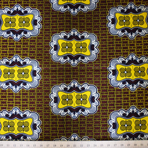 Julius Holland Wax Block Print African Brown Yellow White Blue Sold by the yard Cotton Dovetailed