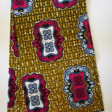 Julius Holland Wax Block Print African Brown Pink White Blue Sold by the yard Cotton Dovetailed