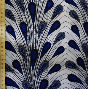 African Print Wax Block Fabric Sold by the yard 100% cotton Blue and white Ankara by Dovetailed