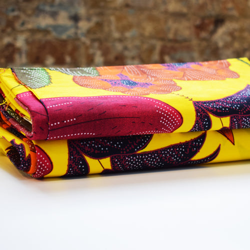 African Print Wax Block Fabric Sold by the yard 100% cotton Yellow Pink Blue coloured fabric Ankara fabric African fashion Craft & Supplies by Dovetailed