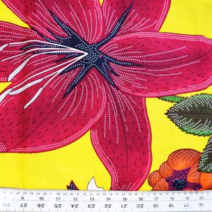 YELLOW FLOWER GARDEN African Print Wax Block Fabric Sold by the yard 100% cotton coloured Ankara Fashion Craft & Supplies by Dovetailed