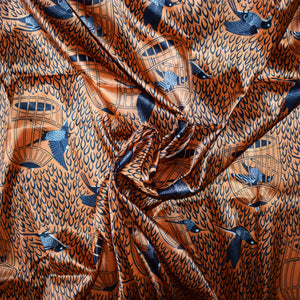 African Print Polyester Satin Fabric Sold by the yard by Dovetailed