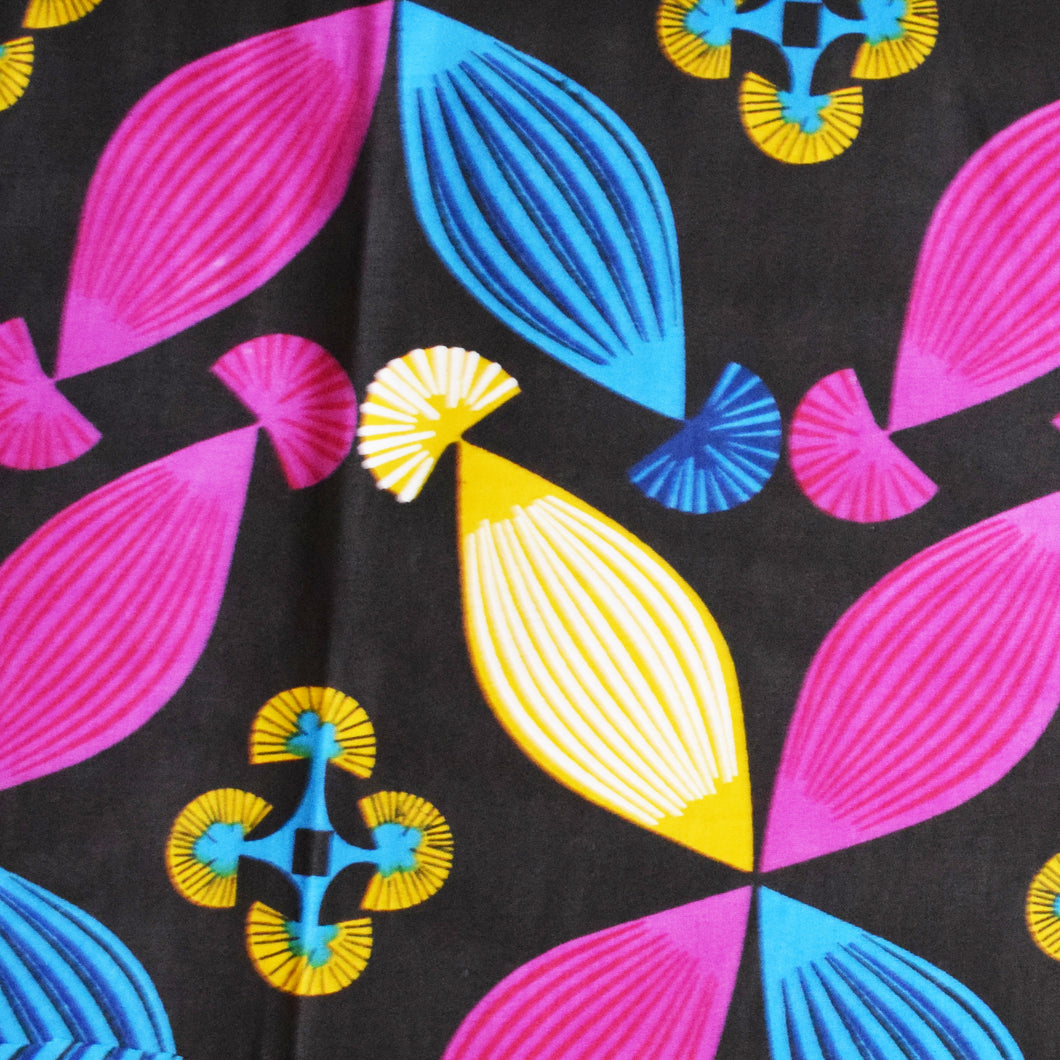 African Print Wax Block Fabric Sold by the yard 100% cotton Black Pink Blue Yellow Ankara by Dovetailed