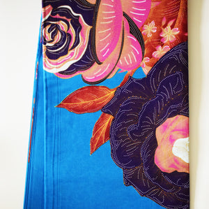 African Print Wax Block Fabric Sold by the yard 100% cotton Blue pink brown floral patterned fabric Ankara Patterned by Dovetailed