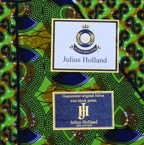 Julius Holland Wax Block Print African print fabric shop Dutch wax Sold by the half yard / by the yard /wholesale (6 yards) 100% cotton Fabric shop colours green blue brown Dovetailed