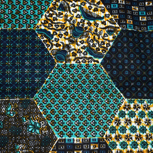 African Print Wax Block Fabric Sold by the yard 100% cotton Green brown white blue coloured fabric Ankara fabric African fashion Patterned fabric Craft & Supplies by Dovetailed