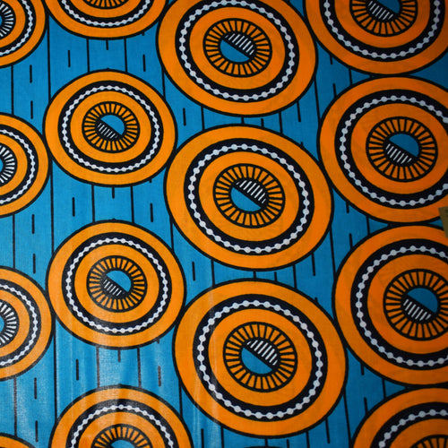 African Print Wax Block Fabric Sold by yard 100% cotton Blue orange circle print Ankara Patterned by Dovetailed