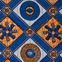 Julius Holland Wax Block Print African print fabric shop Dutch wax Sold by the half yard / by the yard /wholesale (6 yards) Orange blue white patterned fabric 100% cotton by Dovetailed