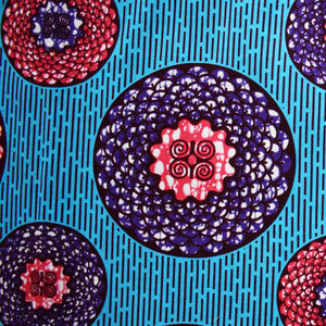 Julius Holland Wax Block Print African print fabric shop Dutch wax Sold by the yard 100% cotton Blue purple and pink coloured fabric Dovetailed