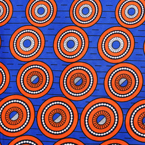 African Print Wax Block Fabric Sold by the yard 100% cotton Red Blue White Ankara by Dovetailed