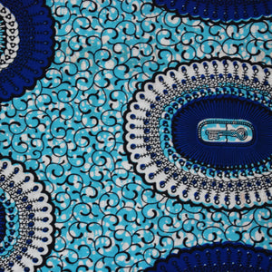 Julius Holland Wax Block Print African Fabric Blue White Sold by yard Cotton Dovetailed