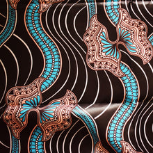 African Print Wax Block Fabric Sold by the yard 100% cotton Brown blue pink coloured fabric Ankara by Dovetailed