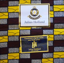 Julius Holland Wax Block Print African print fabric shop Dutch wax Sold by the yard 100% cotton Yellow, white and brown coloured fabric Dovetailed