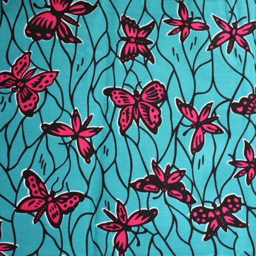 African Print Wax Block Fabric Sold by the yard 100% cotton Butterflies blue and pink Ankara fabric African fashion Patterned fabric Craft & Supplies by Dovetailed